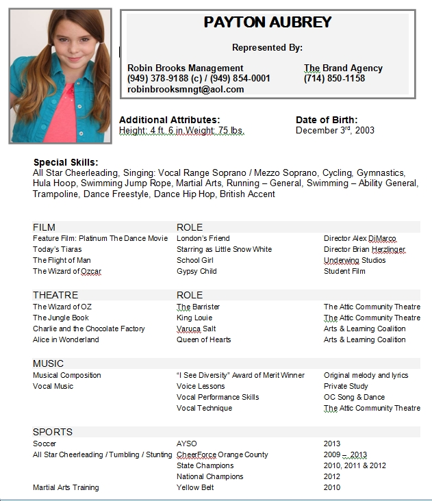 Child actor singer resume